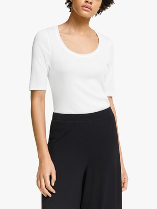 John Lewis & Partners Half Sleeve Rib Top