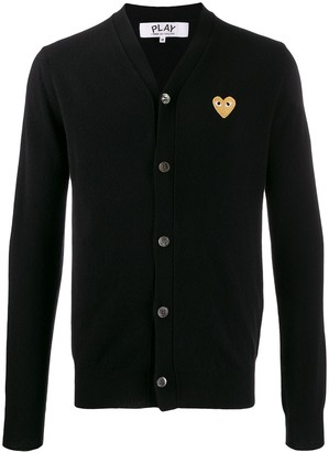 Comme des Garcons Heart Embroidered Slim Fit Cardigan