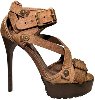 Burberry Brown Leather Sandals