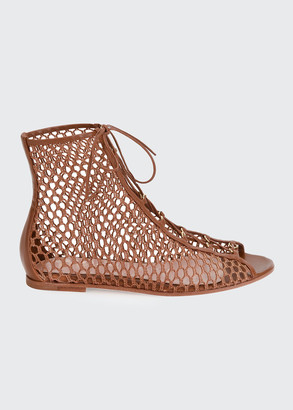 Gianvito Rossi Flat Fishnet Lace-Up Booties