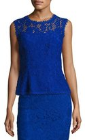Escada Illusion-Yoke Lace Tank, Blue
