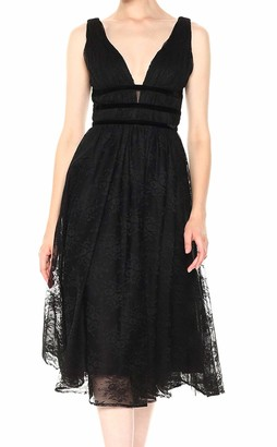 Nicole Miller Women's Sleeveless Fit and Flare Floral Lace