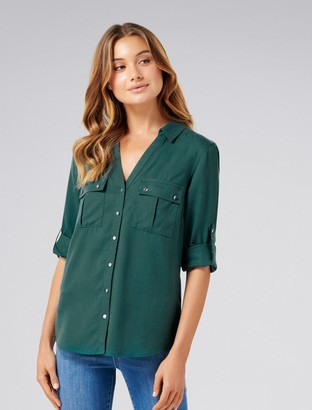 Forever New Lola Utility Roll Sleeve Shirt - Deep Ivy - 4