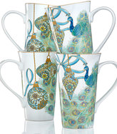 222 Fifth Lakshni Holiday Peacock Collection Set of 4 Latte Mugs