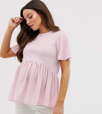 New Look Maternity peplum tee in Pink