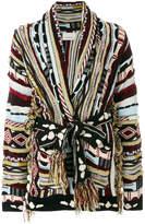 Laneus jacquard design cardigan