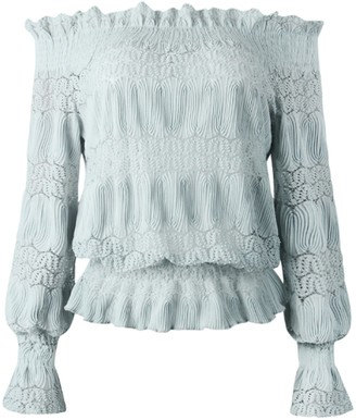 Goodnight Macaroon 'Jessica' Off-the-Shoulder Ruched Long Sleeves Lace Top (3 Colors)