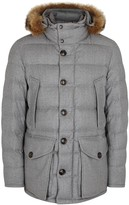 Moncler Rethal Fur-trimmed Quilted Wool Jacket
