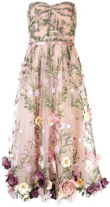 Marchesa Notte Floral Applique Midi Gown