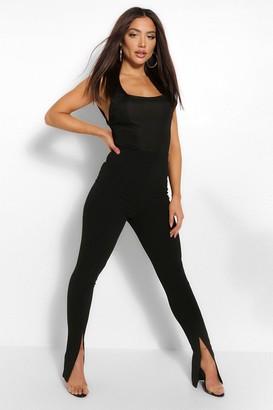 boohoo Split Hem Long Line Slim Fit Trousers
