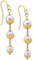Majorica 18k Vermeil Imitation Pearl Triple Drop Earrings