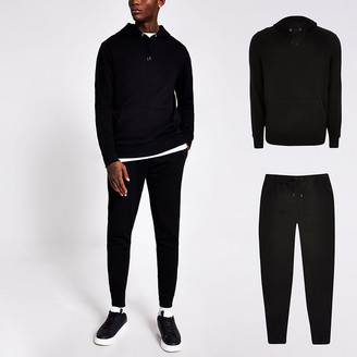 River Island Black slim fit hoodie and jogger tracksuit