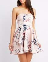 Charlotte Russe Floral Strapless Skater Dress