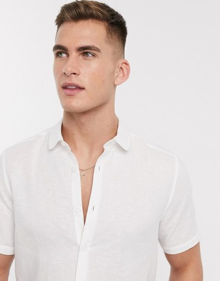 Asos DESIGN regular fit smart linen shirt with penny collar in white