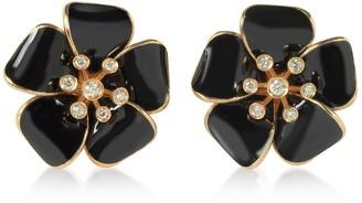Rosato Rose Gold and Black Enamel Daisy Earrings