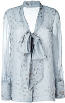 Agnona sheer printed pussy bow blouse - women - Silk - 50