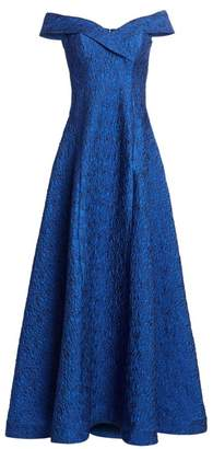 Teri Jon By Rickie Freeman Off-The-Shoulder Jacquard Ball Gown