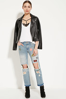 Forever 21 FOREVER 21+ Patch-Front Boyfriend Jeans