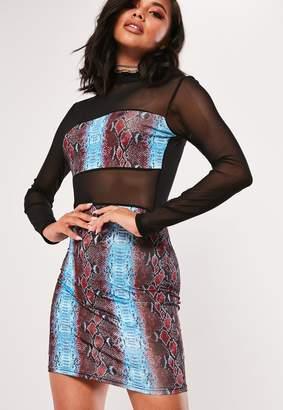 Missguided Blue Printed Mesh Panel Bodycon Mini Dress