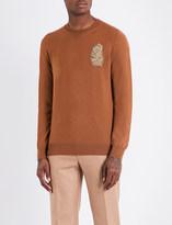 Alexander McQueen Feather-embellished wool-blend jumper