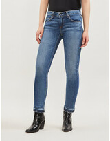 Thumbnail for your product : Rag & Bone Ladies Blue Cotton Embroidered Dre Low-Rise Cropped Skinny Jeans, Size: 23