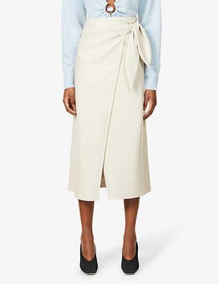 Nanushka Amas vegan faux-leather midi wrap skirt