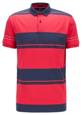 HUGO BOSS Block Stripe Polo Shirt In Cotton With Outline Logo - Pink