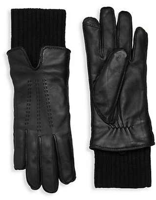 Saks Fifth Avenue Faux Fur-Lined Leather Gloves