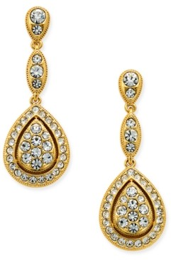 Eliot Danori Gold-Tone Teardrop Pave Drop Earrings, Created for Macy's