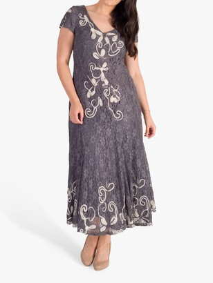 Chesca Embroidered Lace Cornelli Dress, Steel/Ivory
