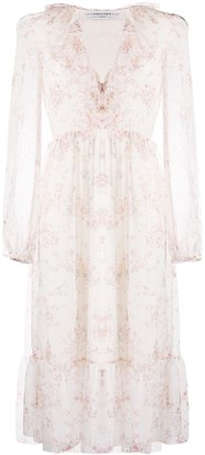 Philosophy di Lorenzo Serafini Floral Print Ruffle Midi Dress
