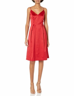 Paris Sunday Women's Spaghetti Strap Sateen Midi Dress
