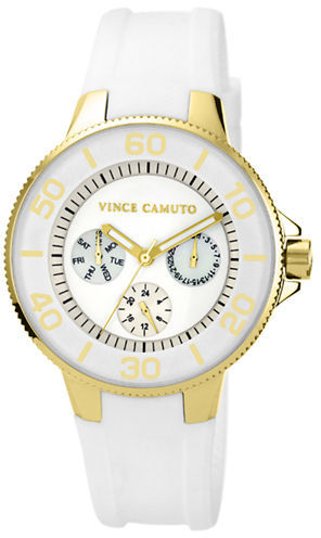 Vince Camuto Ladies' Gold-Tone & White Silicon Strap Watch
