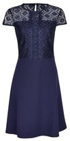 Dorothy Perkins Womens Navy Scuba Lace Top Fit And Flare Dress