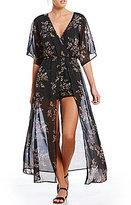 Stilletto's Floral-Printed Kimono Sleeve Maxi Romper