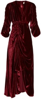Preen by Thornton Bregazzi Rebecca V-neck ruched velvet dress