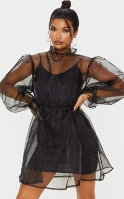PrettyLittleThing Black Organza Puff Sleeve Smock Dress