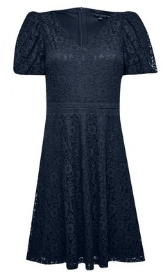 Dorothy Perkins Womens Navy Lace Bubble Sleeve Skater Dress, Navy