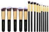 BS-MALL 14 PCS Premium Synthetic Kabuki Makeup Brush Set Cosmetics Foundation Blending Blush Face Powder Brush Makeup Brush Kit(Golden Black)