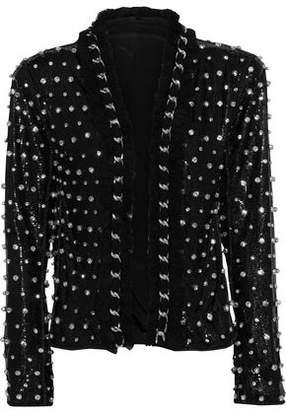 Balmain Chain-trimmed Crystal-embellished Mesh Jacket