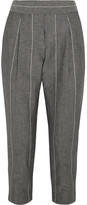 Brunello Cucinelli Cropped Striped Linen And Wool-blend Straight-leg Pants - Gray