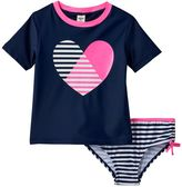 Osh Kosh Girls 4-6x Heart Short Sleeve Rashguard & Bottoms Swimsuit Set