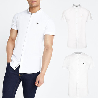 River Island White slim short sleeve Oxford shirt 2 pack