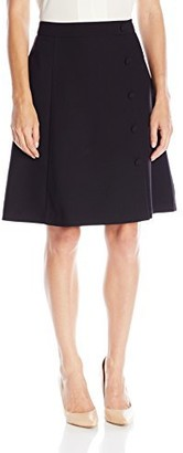 Lark & Ro Amazon Brand Women's A-Line Side Button Skirt