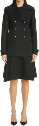 Valentino Lace Inset Fit & Flare Sweater Dress