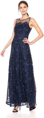 Adrianna Papell Women's Long Metallic Embroidered Dress