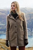 Lands' End Women's Petite Textured Wool Coat-Sandstorm Heather