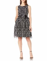 Tahari ASL Women's Embroidered Mesh Sleeveless Fit and Flare Dress