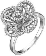 Fei Liu Fine Jewellery Cascade Womens Mini Ring in White Rhodium colour Award-winning Design 925 Sterling Silver AAA Cubic Zirconia Gift Box Packed