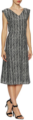 Ava & Aiden Cotton Feather Print A-Line Dress